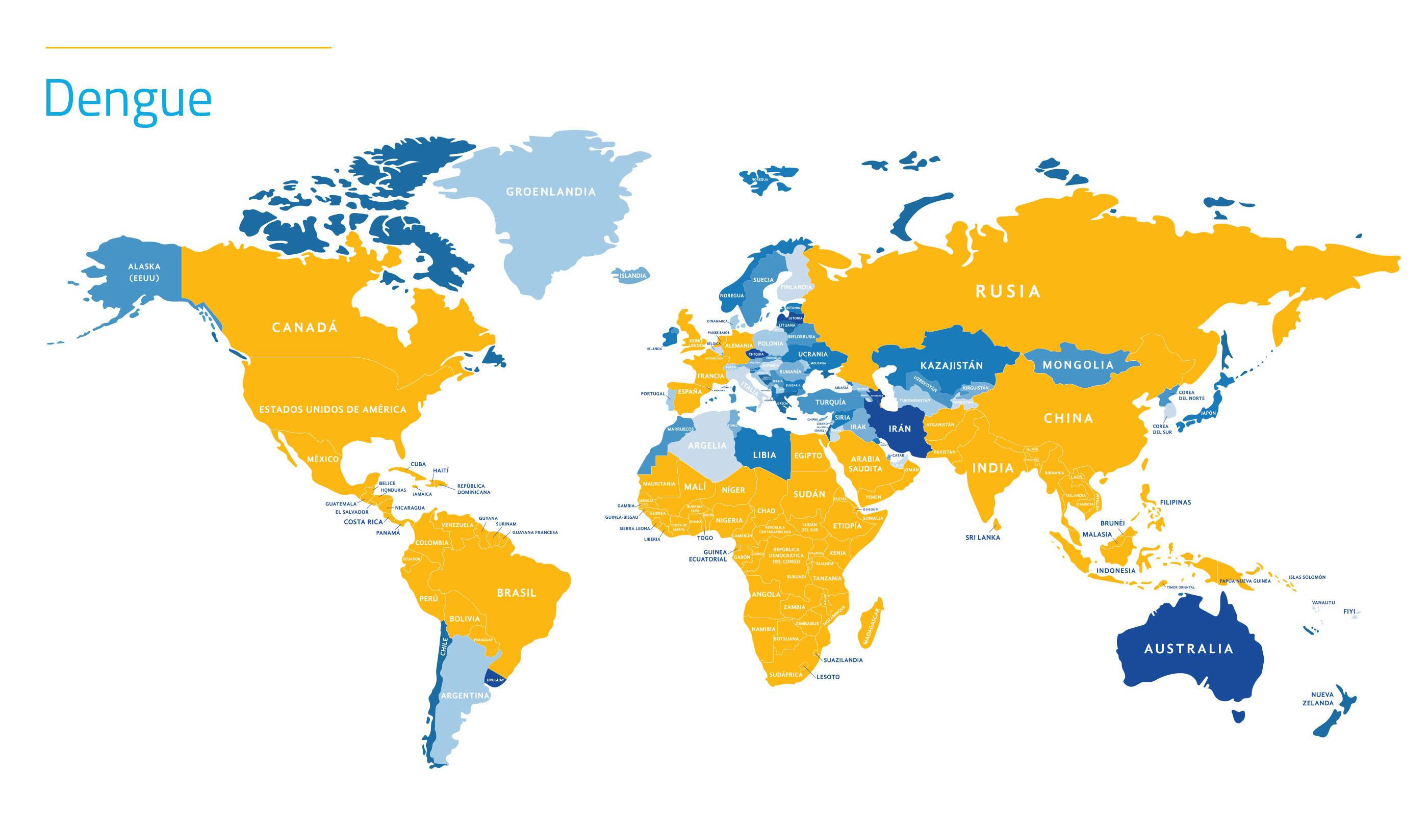 Mapa de dengue en el mundo