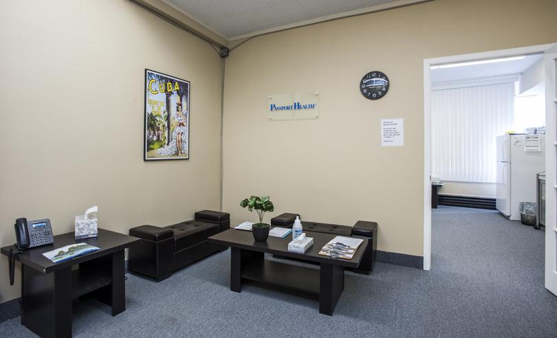 Salle d'attente de la Clinique santé-voyage de Richmond Hill
