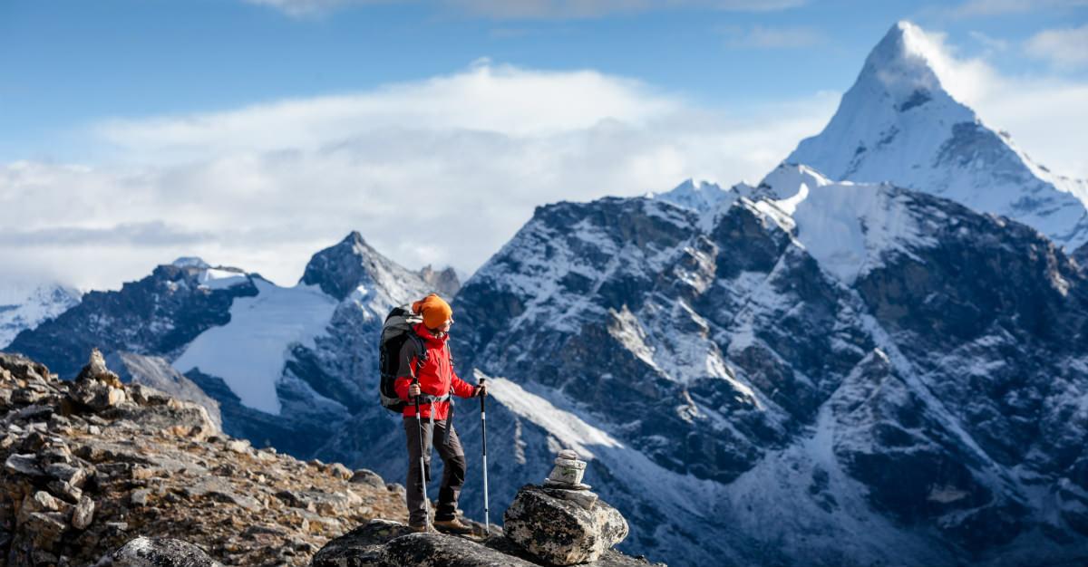 The Himalayas stretch across Nepal, providing immense hiking trails.
