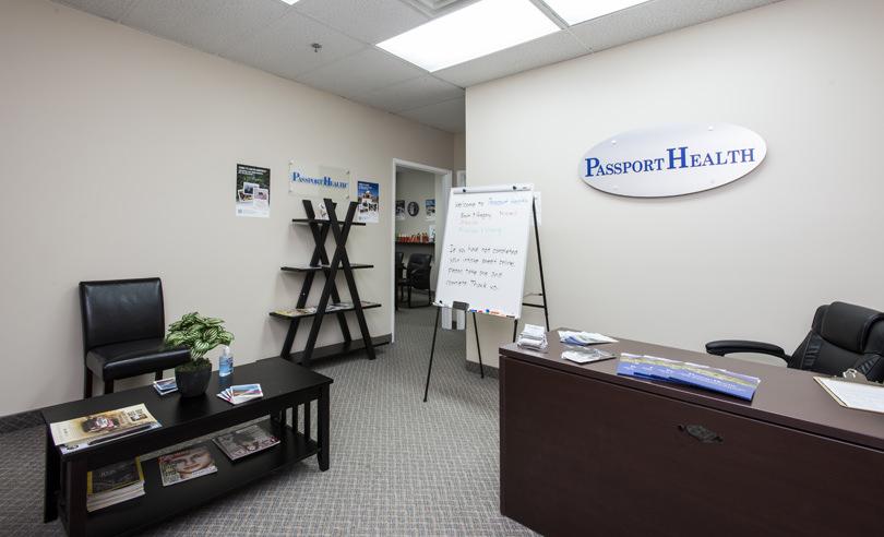Salle d'attente de la Clinique santé-voyage de Kitchener, Ontario