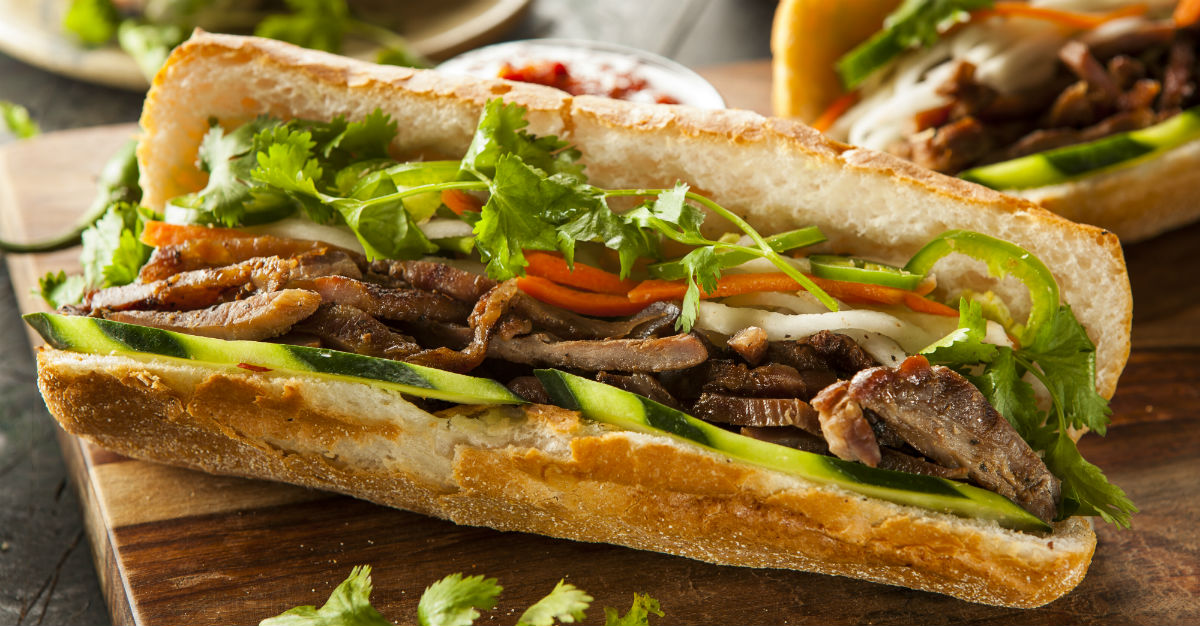 Marinated pork and pickled vegetables make up this famous sandwich.