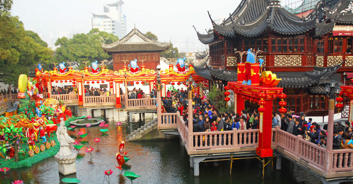 China's biggest city enjoys the celebration at Longua Temple during the new year.