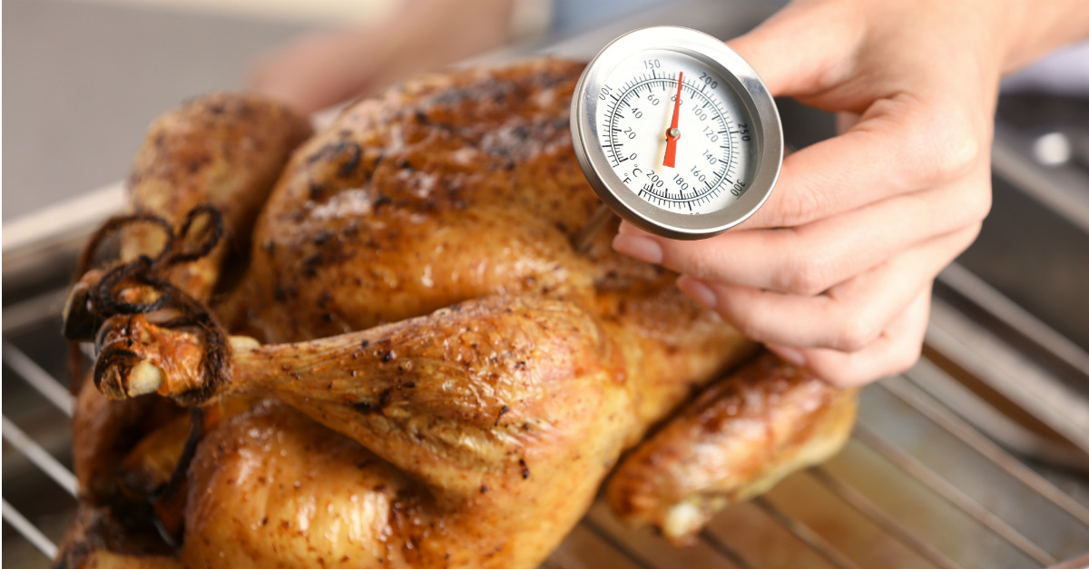 Even slightly undercooked poultry can lead to food poisoning.