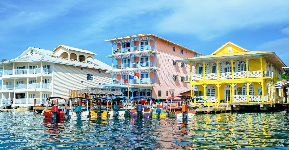The colorful houses fill Bocas del Toro.