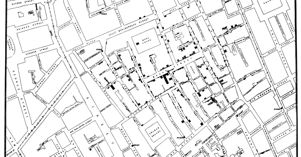 Dr. Snow mapped the path of a cholera outbreak in 1854.